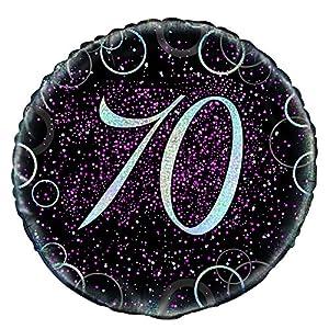 Unique Party Globo foil de 70 cumpleaños Color rosa metálico brillante 45 cm 55799