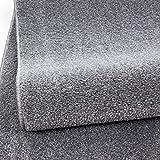 HomebyHome Einfarbig Moderner Kurzflor Guenstige Teppich Uni Hellgrau meliert Wohnzimmer, Schlafzimmer, Diele, Küche, Größe:140x200 cm
