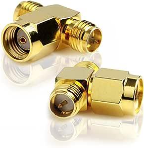 Rp Sma Stecker Zu 2x Rp Sma Buchse Adapter T Stecker Elektronik