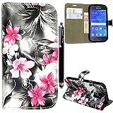 Samsung Galaxy S7 Hülle, Kamal Star® Hülle Lederhülle Tasche Handyhülle mit Standfunktion Card Holder Kunstleder + Stylus (Pink Flower Dark Grey Book)