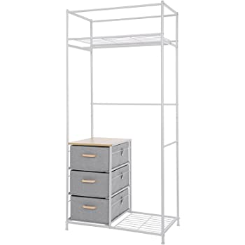 metall garderobe genf garderobenst nder kleiderschrank metallregal 172x100x43cm ohne vorhang. Black Bedroom Furniture Sets. Home Design Ideas