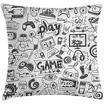 ABAKUHAUS Jeux Vidéos Hausse de Coussin, Style Sketch