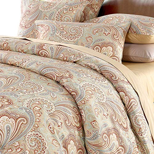 Softta classic collection, damast boho paisley hoher fadenzahl bettbezug-set king size khaki -