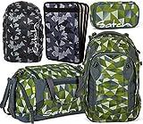 satch match Green Crush 5er Set Schulrucksack, Sporttasche, Schlamperbox, Heftebox & Regencape Schwarz