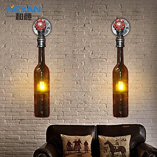 Zugschnur-wein (Flasche Wein Glas Bier Wandleuchte Nordic Industrial wind Schlafzimmer deko Lampe Retro Bar Restaurant und Café Esszimmer Flur der Flur leuchten,Single Vogel Wandleuchte)