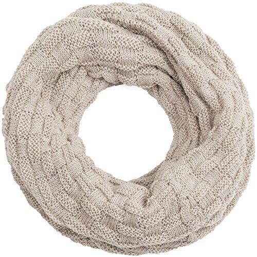 Compagno Winter-Schal Loop-Schal für Herren und Damen Strick-Schal Herren-Schal Damen-Schal, SCHAL Farbe:Beige