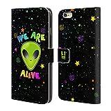 Head Case Designs We Are Alive Alien Brieftasche Handyhülle aus Leder für Apple iPhone 6 Plus / 6s Plus