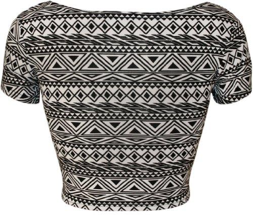 WearAll - Damen Bedruckt Flügelärmel Kurz Top - 4 Muster - Größe 36-42 Klein Aztec