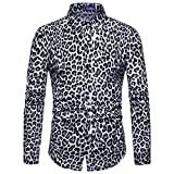 iHENGH Mens Fashion Leopard Print Printed Blouse Casual Long Sleeve Slim Shirts Tops