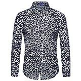 iHENGH Mens Fashion Leopard Print Printed Blouse Casual Long Sleeve Slim Shirts Tops