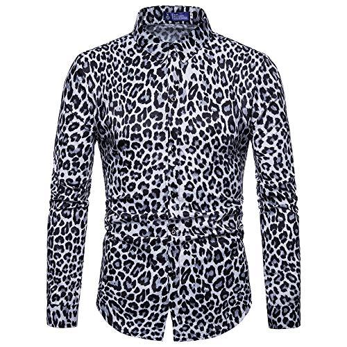 Camisas -Moda de Hombres Estampado de Leopardo Impreso Blusa Casual Manga Larga Camisas Delgadas Tops
