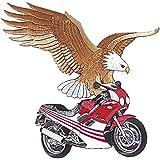 """Gran logotipo bordado en la espalda parche de """"águila y moto"""" nuevo tamaño aprox 21 cm x22cm (08013) mivall canionm"""
