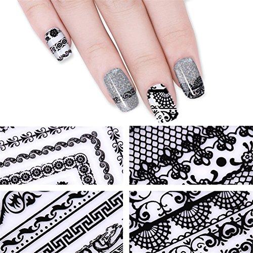 NICOLE DIARY 4 Blatt 3D Nail Sticker Schwarz-Spitze-Kleber-Streifen Blume Netz Entworfen Abziehbilder DIY Maniküre-Nagel-Kunst-Dekoration (4 Patterns) (Kleber-streifen Nail)