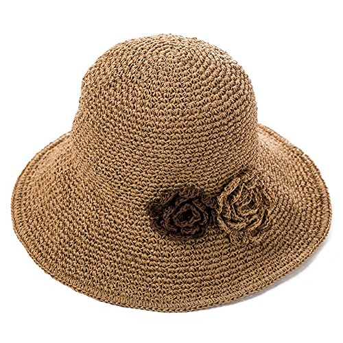 HAIPENG Kappe Breit Krempe Stroh Hut Koreanisch Stil Weiblich Sommer Sonne Deckel Tragbar 3 Farben Verfügbar Sonnenhut (Farbe : XL-Beige) (Damen-xl-sonnenhut)