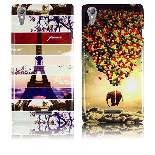 Sony Xperia Style T3 Silikon Schutz-Hülle 2x SET Instagram Paris + fliegender Elefant weiche Tasche Cover Case Bumper Etui Flip smartphone handy backcover thematys®