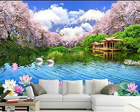 LWCX Benutzerdefinierte Größe Wandbild 3D Wallpaper Kirsche Lotusblüte Tv Wohnzimmer Hintergrund Wand Große 320X220CM