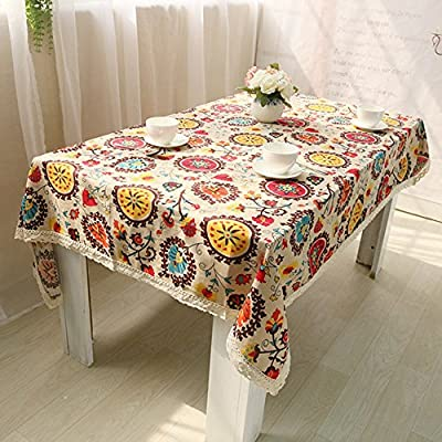 Fashion Big Flowers Style Cotton Table Cloth for Coffee Tea Dinner Table