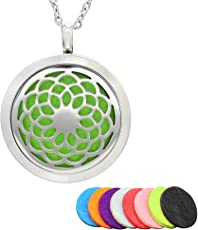SUPVOX Aromatherapy Pendant Essential Oil Diffuser Stainless Steel Necklace Locket