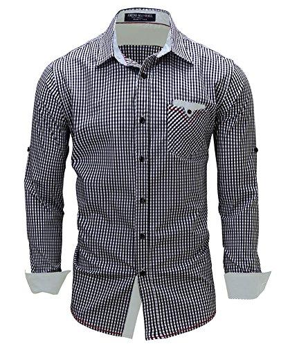 Kuson Herren Kariert Hemd Slim Fit Bügelleicht Doppelfarbig Hemden Karo Hemd  A Stil-Schwarz c5603e3555
