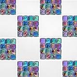 60 Second Makeover Limited - Adesivi per piastrelle, per bagno e cucina, confezione da 10, motivo mosaico, 15,2 x 15,2 cm, colore: viola/verde/marrone