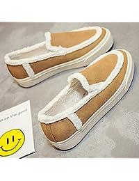 Estudiantes Winter Fashion Winter Warm Loafers Low Top Plus Cashmere Ventilar plantillas antideslizantes Zapatos ocasionales plegables ( Color : Brown , Size : 39 )