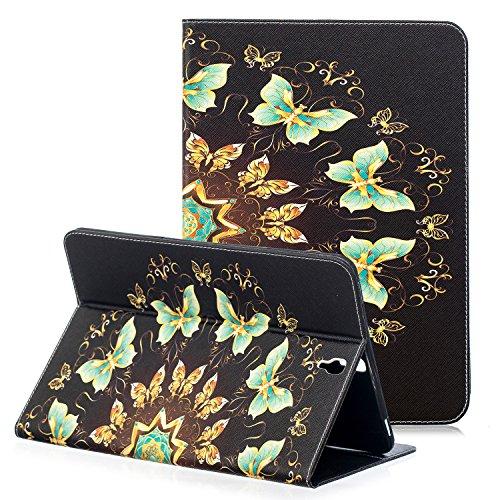 Samsung Galaxy Tab S39,7Fall Leder, zaox Magnetischer Folio Schutzhülle Book Cover für Galaxy Tab S3Tablet 24,6cm, sm-t820T825mit Art Muster Dokument Card Pocket Flip, Grüne Schmetterlinge (Samsung S3 Screen Protector)