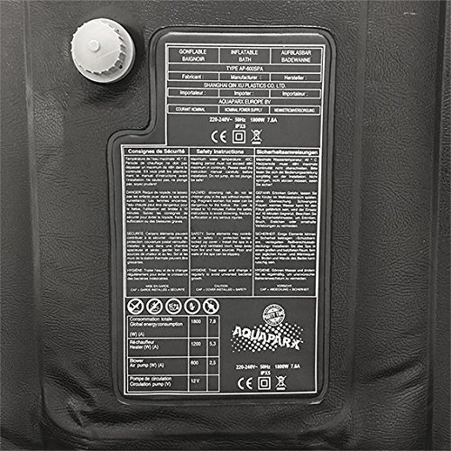 AQUAPARX Whirlpool AP-600SPA *rechteckig* 155x155x65 cm Pool Wellness Massage Spa Whirlpoolzubehör Badewanne Wanne Indoor Outdoor Heizung aufblasbar - 11