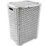 Wäschekorb Rattan 90 L Wäschebox Wäschetruhe Wäschesammler Wäschekörbe (Weiß)
