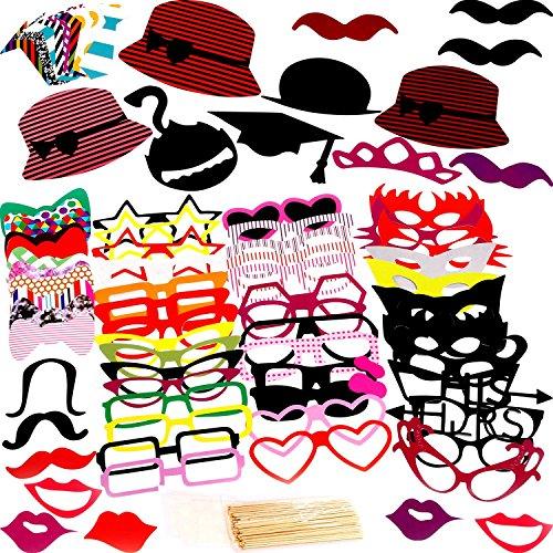 Veewon Fotorequisiten Foto Props 76 Stück DIY Kit für Geburtstagsfeier, Henne Partei, Hochzeit & Foto Booth - Lustige Requisiten Kostüme mit Schnurrbart auf einem Stock, Hüte, Gläser, Mund, Bowler, Fliegen