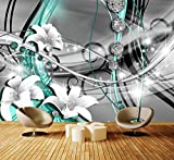 Fototapete Diamant Lilie grün Vliestapete Wandtapete - Tapete - Moderne Wanddeko - Wandbilder - Fotogeschenke - Wand Dekoration, wandmotiv24, Größe: XL 350 x 245 cm - 7 Teile - Vlies
