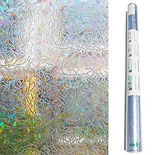 Zindoo Fensterfolie Dekorfolie Sichtschutzfolie Blickdicht Hochwertige Ohne Klebstoffe 3D Regenbogenfarben Effekt unter Licht, Statisch Folie Anti-UV 90 * 200cm