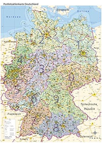 Postleitzahlenkarte Deutschland mit Bundesländern, DIN A0: Maßstab: 1:800.000, Poster mit PLZ-Register, Auflage 2017