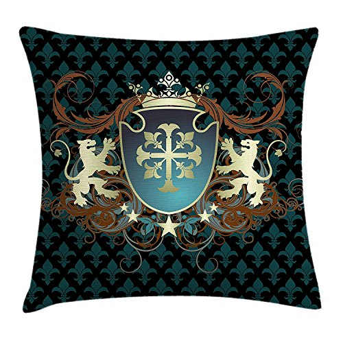Medieval Throw Pillow Cushion Cover, Heraldic Design from Middle Ages Coat of Arms Crown Lions and Swirls, Decorative Square Accent Pillow Case, 18 X 18 inches, Teal Black Cinnamon Dragon Silk Coat