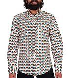 Chenaski Eyeball 70er Muster Hemd Creme Blau Rot L