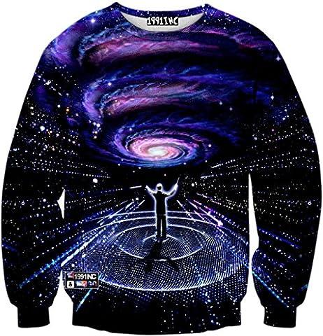 Pizoff Unisex Hip Hop sweatshirts with 3D Digital printing 3D pattern universe galaxy rock sky