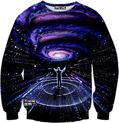 Pizoff Unisex Hip Hop Sweatshirts mit 3D Digital Print 3D Muster Universum galaxy steinhimmel Y1759-L9-L (Acne Pullover)