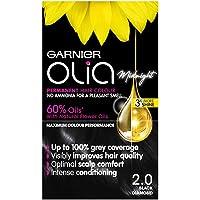 Garnier Olia Black Hair Dye Permanent, Up to 100% Grey Hair Coverage, No Ammonia for a Pleasant Scent, 60% Oils - Olia…
