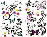 SPESTYLE wasserdicht ungiftig temporäre Tätowierung stickerslatest neue Release 1 Packung mit 2 Stück wasserdicht bunte Blume Schmetterling Tattoos