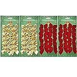 Shappy 48 Pezzi Archi di Natale Decorazione 50 mm Nastro Archi Ornamenti Archi di Natale, Rosso e Oro