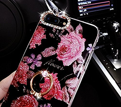 Custodia per iPhone 6/6S,Girlyard Telefono Cover Ultra Sottile Gel TPU Morbido Retro Glitter Brillantini Ciondolo Supporto Custodia per iPhone 6S Creative Donna Ragazza Disegni 3D Coperture Protettive Rope Grande Fiore Rosso