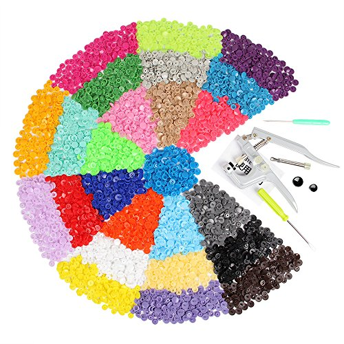 FISTE Snap Pliers + 375 Set T5 Poppers Plastic Buttons Plier Studs Fasteners 25 Colors for DIY Studs Test