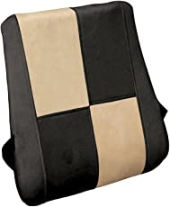 Auto Pearl Backrest_Chess_Beige_Black Orthopaedic Memory Foam Backrest for All Cars (Beige)
