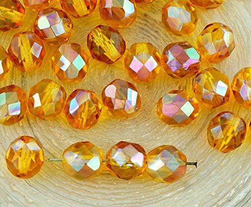 20pcs Kristall Gelb Bernstein Klar Orange Apricot Glanz Halbe Runde Facettierte feuerpoliert Tschechische Glas Spacer Perlen 8mm -