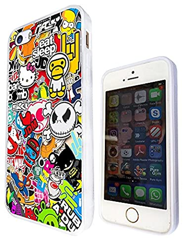 114 - Cool Funky Sticker Bomb Jdm Eat Sleep Design iphone 5 5S Fashion Trend Protecteur Coque Gel Rubber Silicone protection Case Coque - Blanc