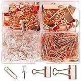 AIEX 270+ FoldBack Klemmen Büroklammern Pinnadeln, Rosegold Bürobedarf-Set mit Transparenten Kunststoffbox für Zuhause, Schule, Büro