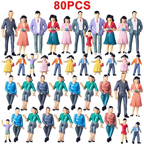 H0_V 80 Stück Figuren Model,1:25 HO Züge Architekturmodell Miniatur Figuren Modell(3-7.6cm)