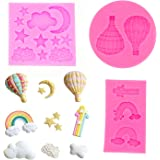 HASTHIP® Reusable Fondant Silicone Mold Moon Star Cloud Balloon Rainbow Silicone Molds Set DIY Handmade Baking Tools for Cake