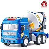AdiChai Simulation Friction Powered Cement Mixer Construction Unbreakable Plastic Truck with Light & Sound Engineering…