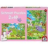 Schmidt Puzzle 56158 princesa en el jardín del castillo, 2 x 48 piezas