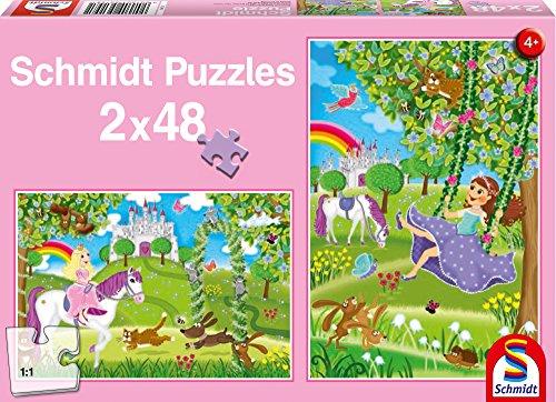 Preisvergleich Produktbild Schmidt Spiele Puzzle 56158 Prinzessin im Schlossgarten, 2 x 48 Teile